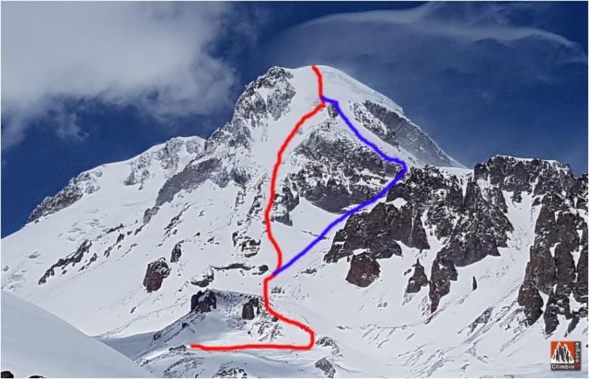 MOUNTAIN KAZBEK CLIMBING ROUTE