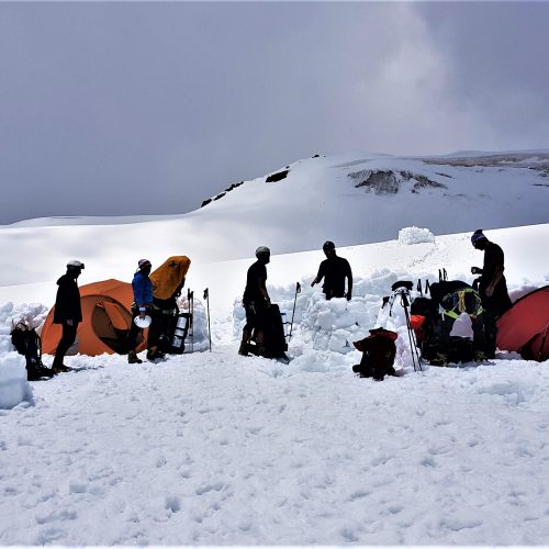 Camp at Kazbek Plateau at 4300 m.a.s.l