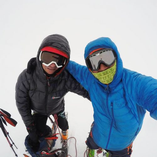 Ski touring at Kazbek