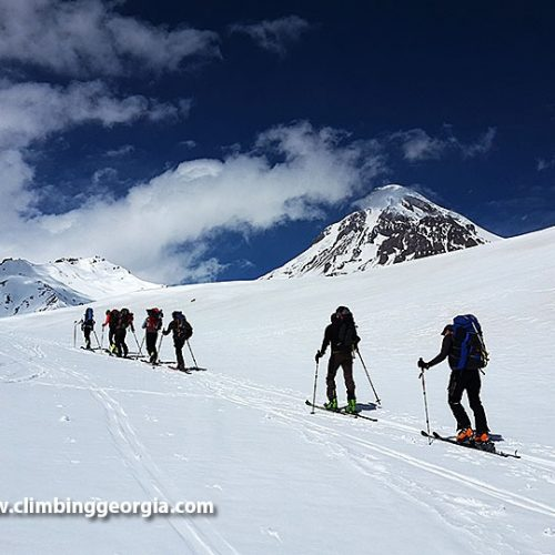Ski touring Kazbek mountain