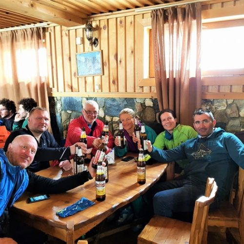 Ski touring group and guide