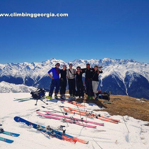 Ski touring qoruldi lakes Svaneti Georgia
