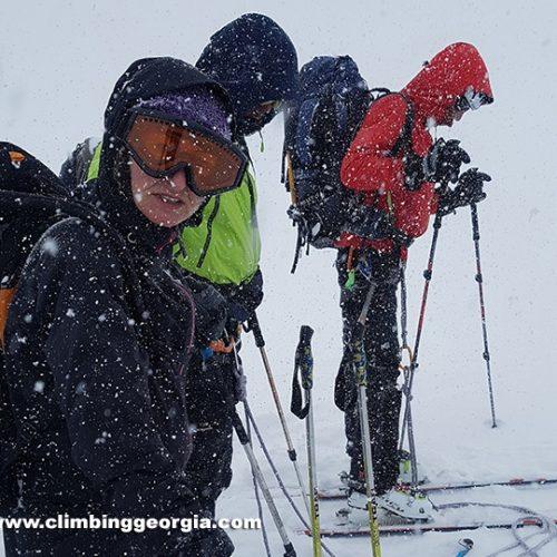 Ski touring Mount Kazbek