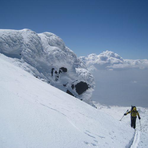 Ski touring at mountain